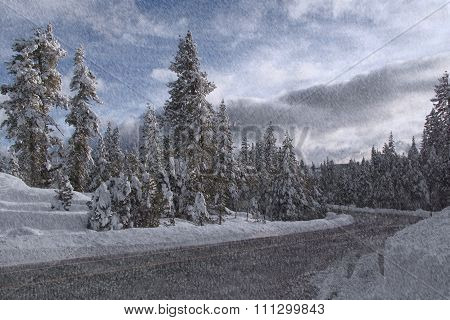 Road In Winter Forest. Snowfall.