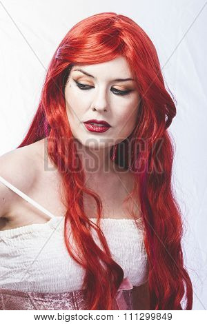 Caucasian girl with big red hair, nineteenth century style romance