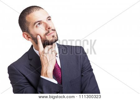 Thoughtful businessman on white background