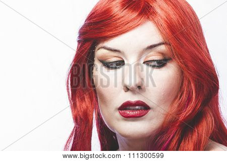 Lipstick girl with big red hair, nineteenth century style romance