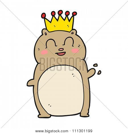 freehand drawn cartoon waving hamster