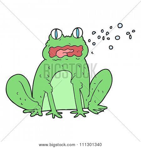 freehand drawn cartoon burping frog