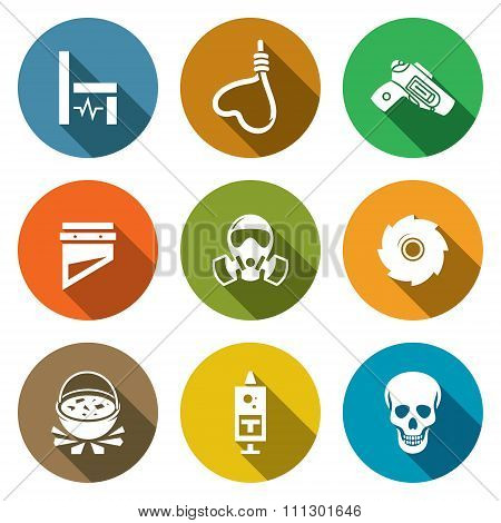 Death penalty Icons Set. Vector Illustration.