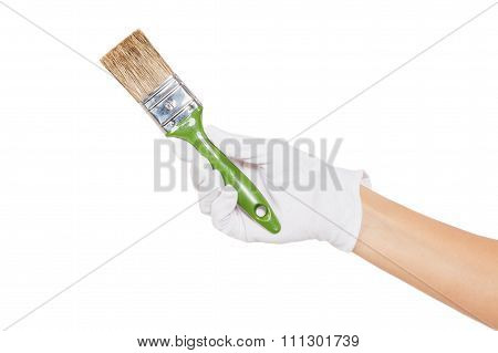 The Hand In White Glove With Green Paintbrush