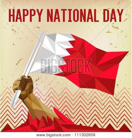 Happy National Day Bahrain - Flag On Vintage Old Paper Background