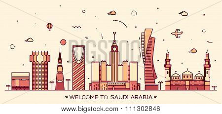 Skyline Saudi Arabia Trendy vector linear style
