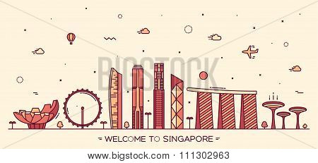 Skyline Singapore vector illustration linear style