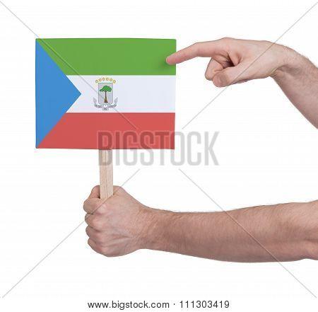 Hand Holding Small Card - Flag Of Equatorial Guinea