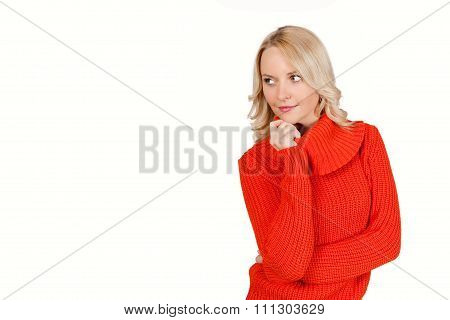 Blonde handsome young woman isolated on white