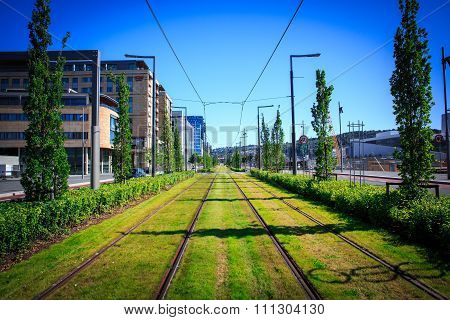 View Of The Tram Tracks , Oslo, Norway