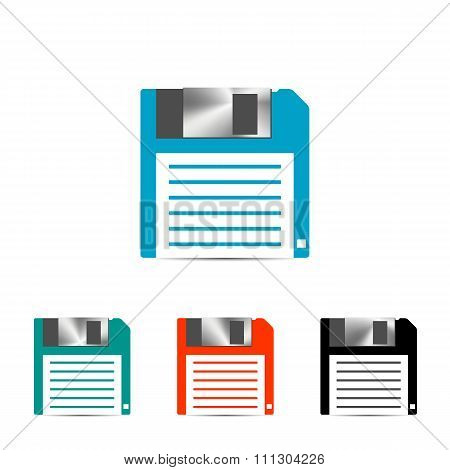 Set Of Colored Floppy Icon, Vector Illustration.
