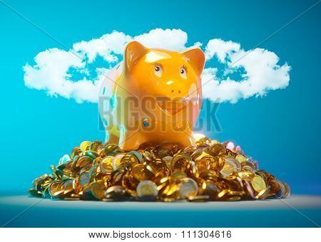 Piggy Bank With Stock Of Money