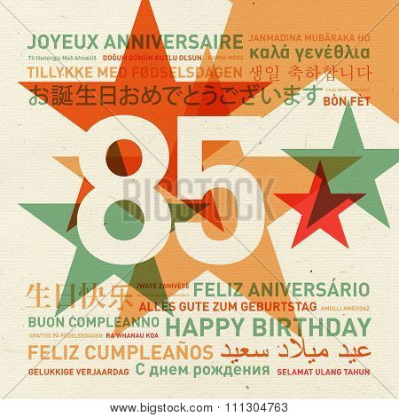 85Th Anniversary Happy Birthday Card From The World