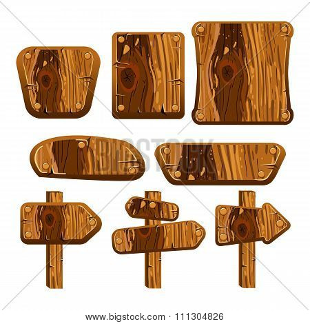 A Set Of Wooden Boards, Panels And Signs.