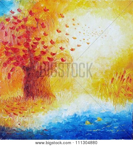 Painting. Autumn, Birds Fly With Red Wood And Fish Watching.