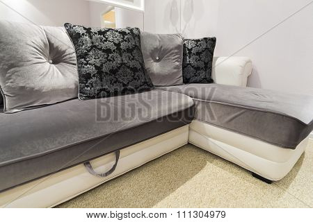 Grey Pillow on sofa at  home