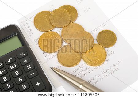 Coins and chart  as symbol for exchange rates
