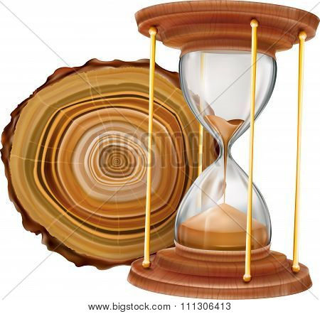 Annual Tree Rings And Hourglass