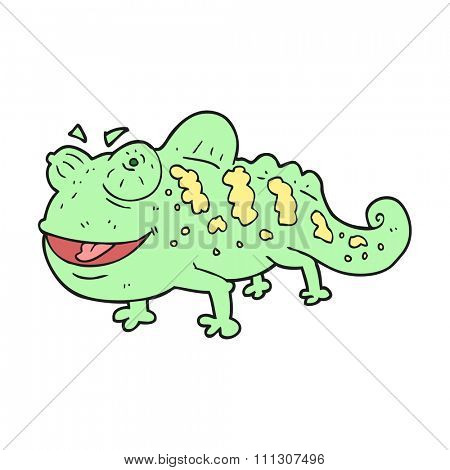 freehand drawn cartoon chameleon