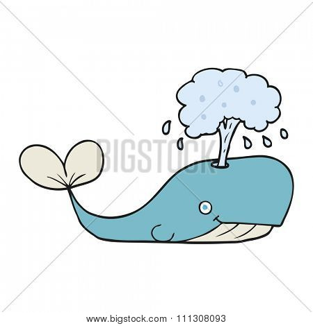 freehand drawn cartoon whale spouting water