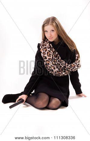 Spy Girl In A Black Coat With Gun