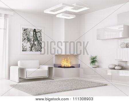 Interior Of Modern White Room 3D Render