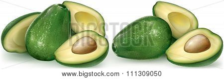 Avocado Fruit And Cutting Half