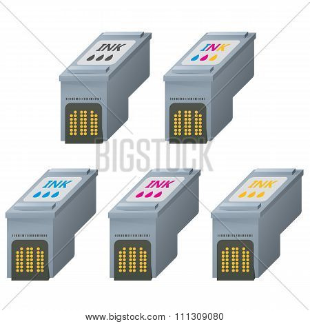 CMYK ink cartridges in isometric.