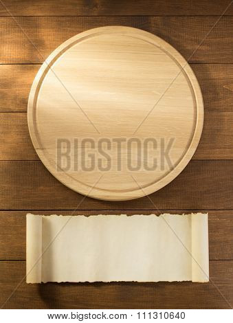 pizza cutting board on wooden backgroun