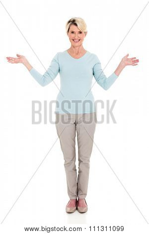 portrait of happy mid age woman arms open