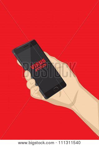 Smart Phone Virus Attack Vector Illustration