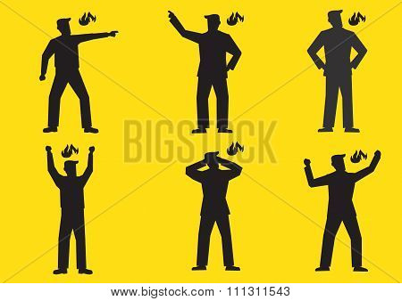 Angry Cartoon Man Silhouette Vector Illustration