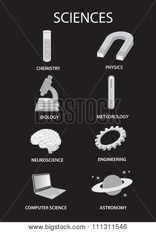 Symbols For Science Subjects Vector Illustration