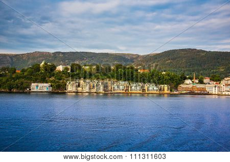 Houses On The Shore Of The Norwegian Sea , Bergen , Norway