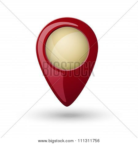 Red Plastic Map Location Sign, Marker Isolated On White Background