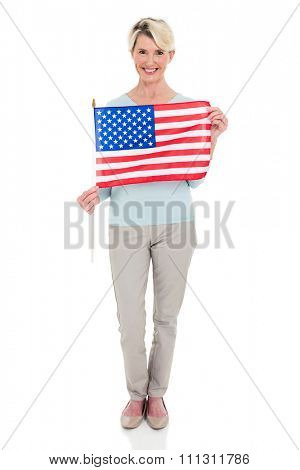 pretty mid age woman with USA flag