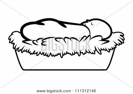 Christmas Jesus Manger Vector Outline Symbol, Icon  Design. Illustration Isolated On White Backgroun