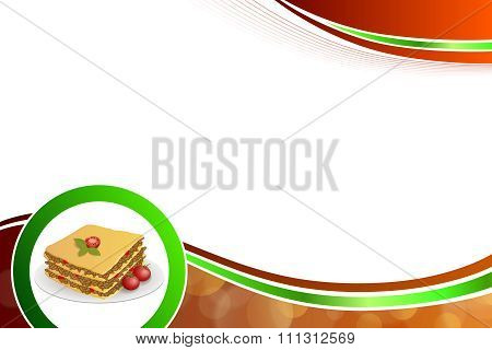 Abstract background lasagna food meat tomato yellow green red circle frame illustration vector