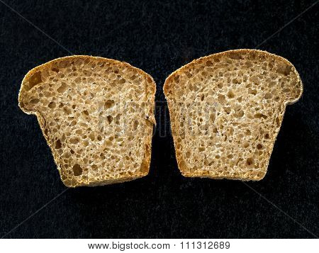 Muffin Bread Sliced In Two Halves