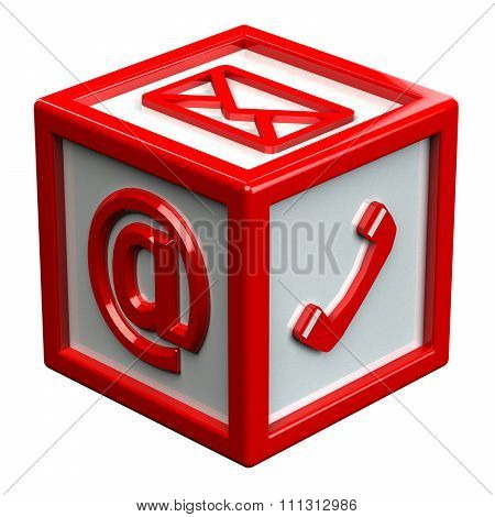 Block With Signs: Envelope, Phone, E-mail