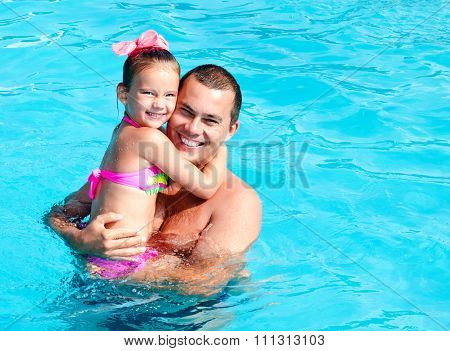 Father And Little Girl On Summer Vacation