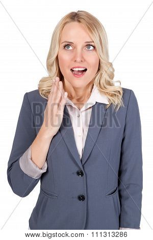 Young blond woman showing emotion