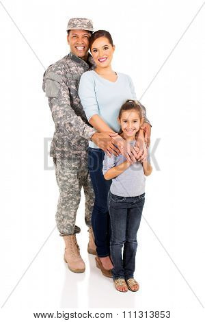 military family standing in line isolated on white background