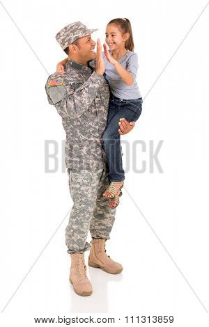 happy military father and daughter high five isolated on white