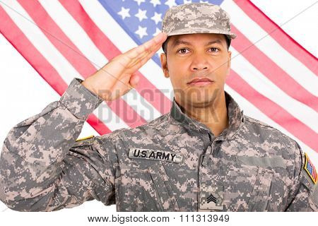 middle aged soldier saluting with American flag on background