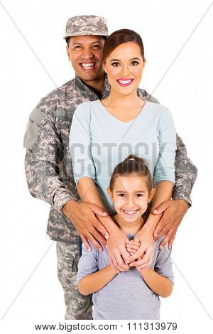 portrait of military family isolated on white
