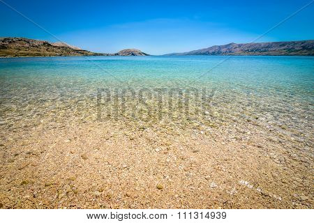 Beach In The Coast Of Adriatic Sea  Island Pag Or Hvar.
