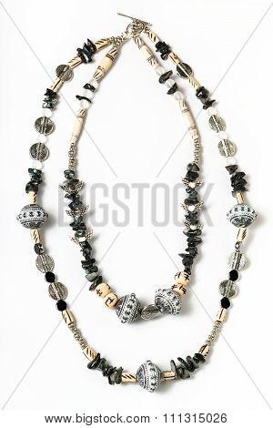 Necklace From Coquina, Acrylic, Rhinestone Beads