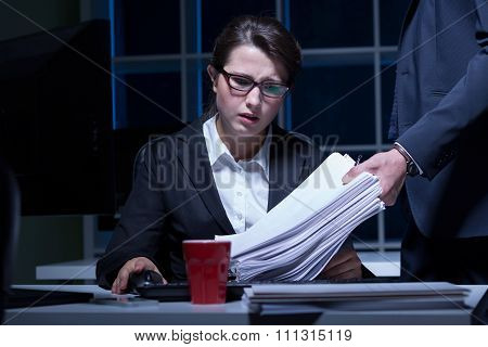 Woman Working Overtime