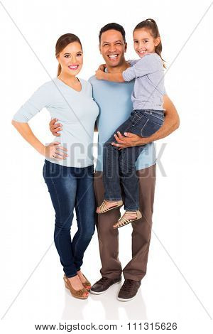 portrait of happy family standing together isolated on white background